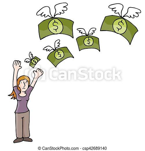 verliezend geld, vrouw - csp42689140