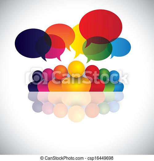 Soziale Medienkommunikation oder Büropersonal-Meeting oder Kinder reden. Die Vektorgrafik repräsentiert auch Personenkonferenz, soziale Medieninteraktion & Engagement, Kindergespräche, Mitarbeiterdiskussionen - csp16449698