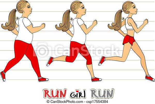 verlust, rennender , frau, gewicht, fortschritt - csp17554384