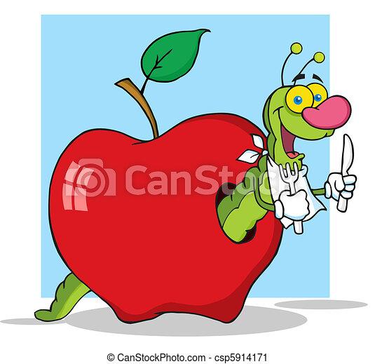 verme, fondo, mela - csp5914171