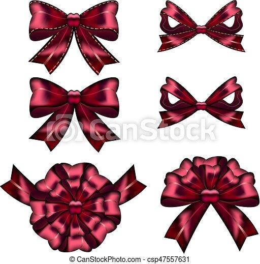 vermelho, jogo, arcos, presente, ribbons. - csp47557631