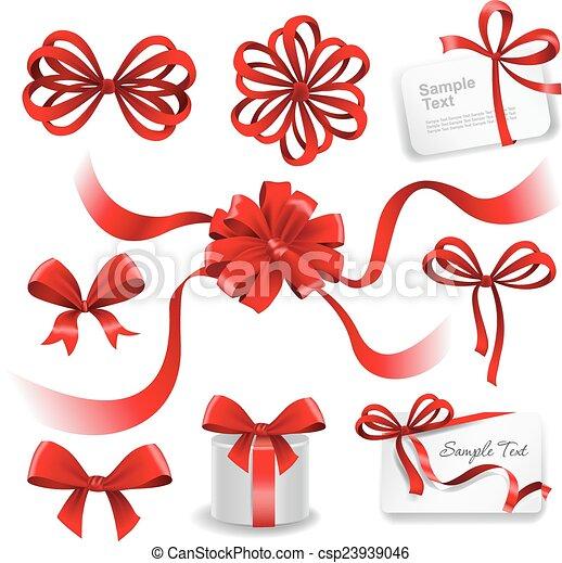 vermelho, jogo, arcos, presente, ribbons. - csp23939046
