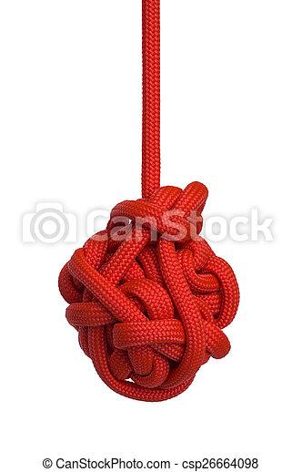vermelho, nó, penduradas - csp26664098