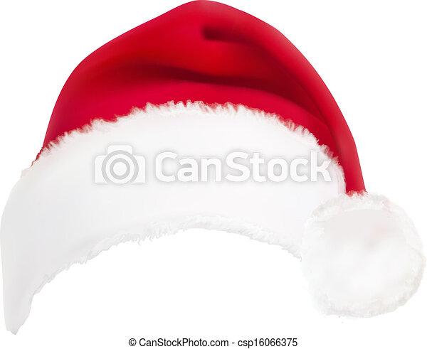 vermelho, vector., hat., santa - csp16066375