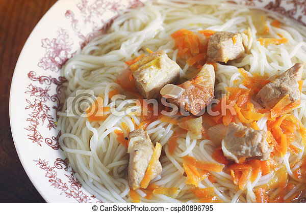 Vermicelli with meat on a plate - csp80896795