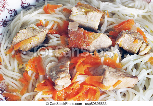 Vermicelli with meat on a plate - csp80896833