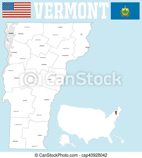 Vermont county map. A large and detailed map of the state of... eps ...