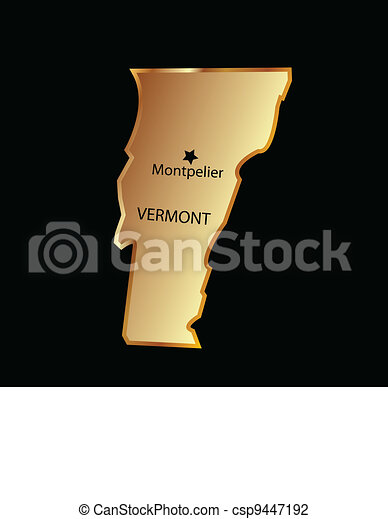 Vermont state usa in gold  - csp9447192