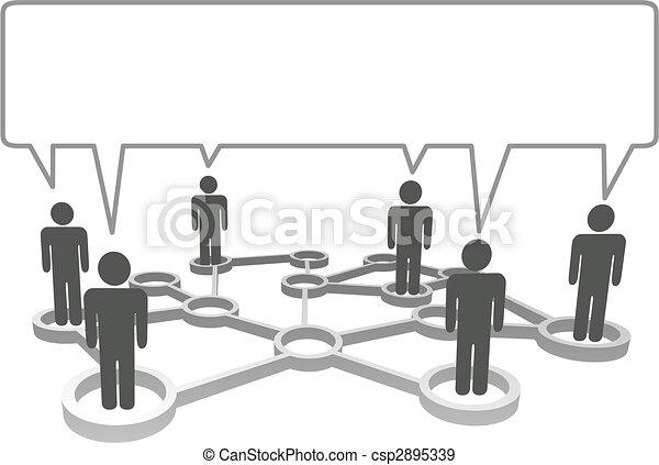 vernetzung, bubble., symbol, leute, kommunizieren, verbunden, vortrag halten , knoten - csp2895339