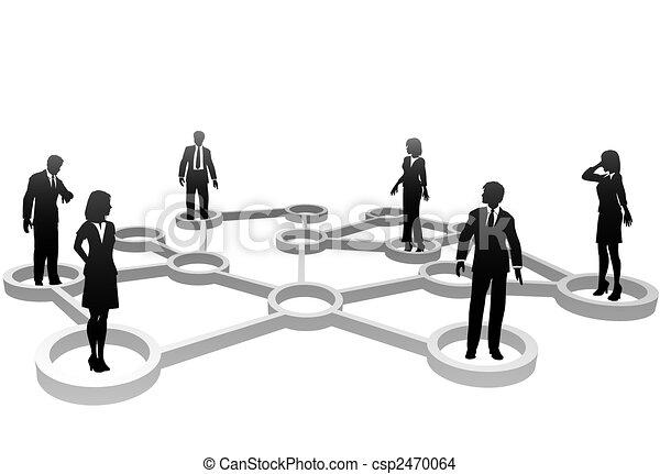 vernetzung, geschäftsmenschen, silhouetten, verbunden, knoten - csp2470064