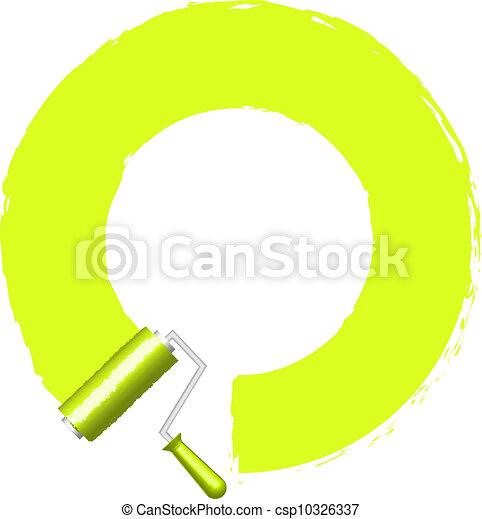 vernice, cornice, vettore, rullo - csp10326337