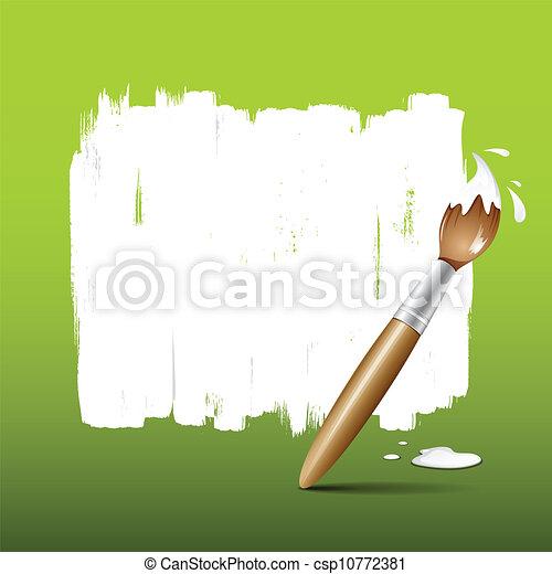 vernice, verde, spazzola, fondo - csp10772381