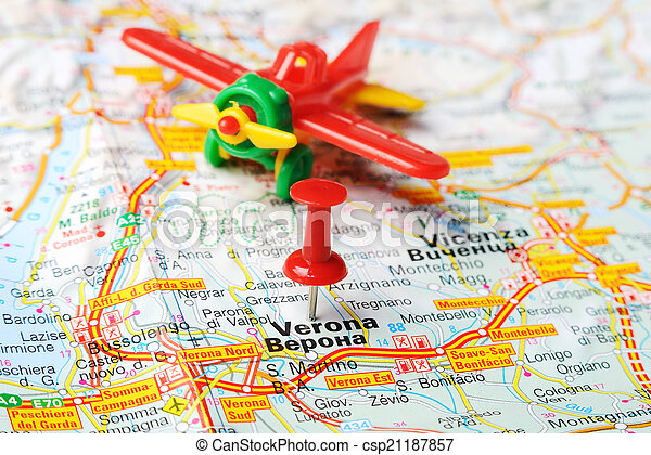 Verona Italy Map Airplane Close Up Of Verona Italy Map With Red