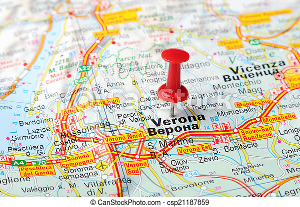 Verona italy map Close up of verona italy map with red stock
