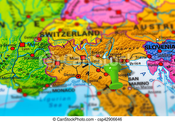 Verona Italy Map Verona In Italy Pinned On Colorful Political Map