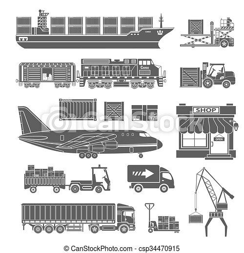 Verpackung, ladung, satz, transport, ikone. Ladung, satz ...