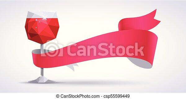 verre, arrière-plan rouge, magenta, ruban, vin - csp55599449