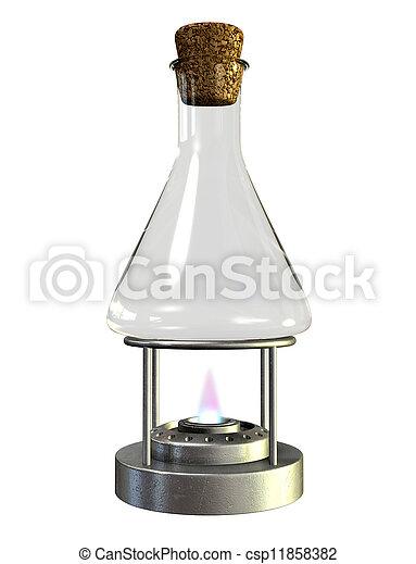 verre, brûleur, bunsen, pot - csp11858382