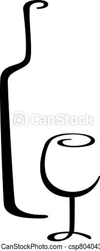 verre, calligraphic, bouteille, vin - csp8040433