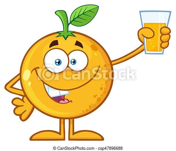 Verre Caractère Haut Jus Fruit Présentation Tenue Orange Dessin Animé Mascotte