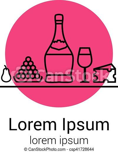 verre, dégustation, chianti, illustration, ton, poire, dîner, icons., raisins, fête, logo, bouteille, ou, fromage - csp41728644
