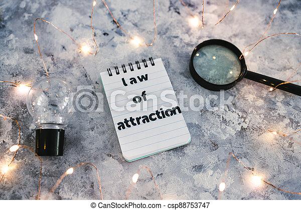 verre, fée, mindset, ampoule, entouré, attraction, magnifier, lumières, bloc-notes, symbole, lumière, droit & loi, décalage, introspection - csp88753747
