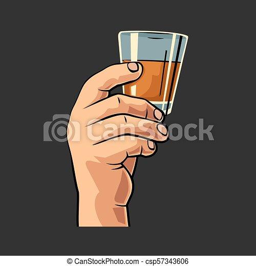 verre, mâle, tenue, rum., main - csp57343606