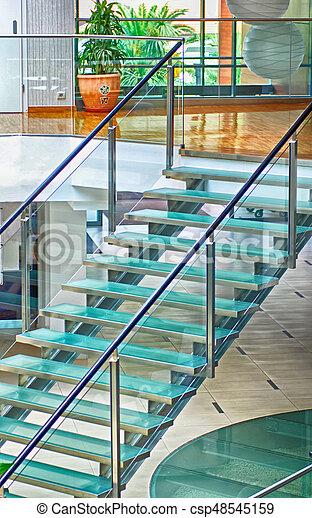 verre, moderne, escalier