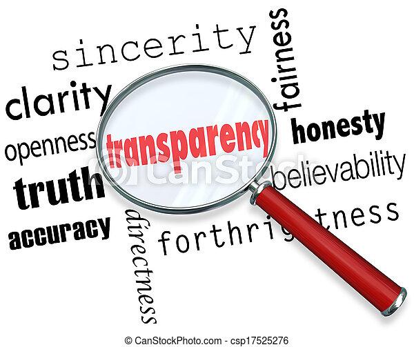 verre mot, sincérité, transparence, franchise, clarté, magnifier - csp17525276