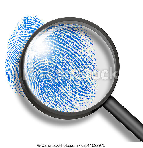 verre, par, magnifier, empreinte doigt - csp11092975