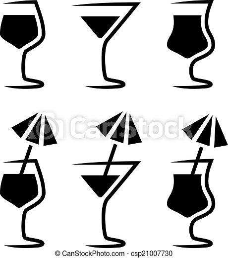 verre, parasol, vecteur, silhouette, cocktail - csp21007730