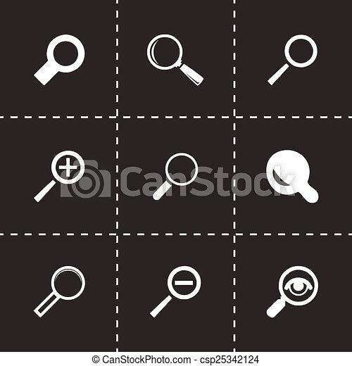 verre, vecteur, ensemble, magnifier, icônes - csp25342124