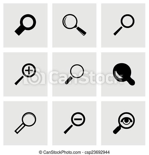 verre, vecteur, ensemble, magnifier, icônes - csp23692944