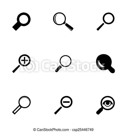 verre, vecteur, ensemble, magnifier, icônes - csp25446749