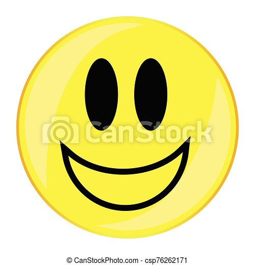 Verry Happy Smiley Face Button Isolated - csp76262171