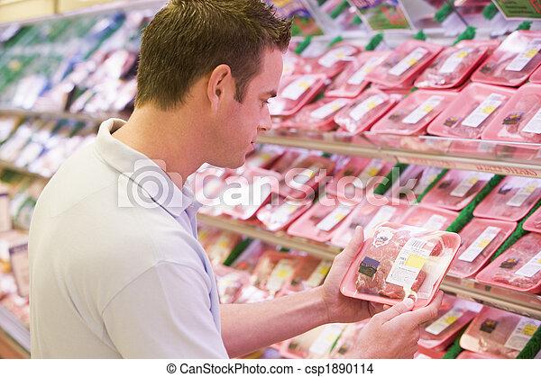 vers vlees, aankoop, man - csp1890114