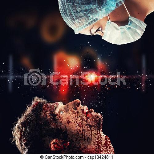 versammlung, chirurg, patient, aussehen - csp13424811