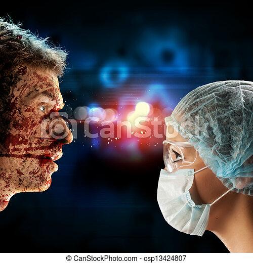 Den Chirurgen und den Patienten zu treffen - csp13424807