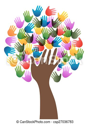 verscheidenheid, boompje, handen - csp27036783