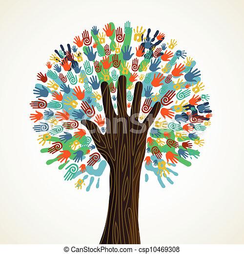 verscheidenheid, boompje, vrijstaand, handen - csp10469308