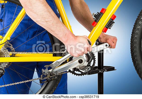 verscherping, fiets, werktuigkundige, pedaal - csp38531719