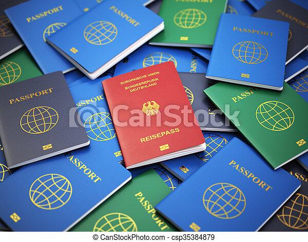 verschieden, concept., einwanderung, haufen , reisepaß, deutschland, passports. - csp35384879