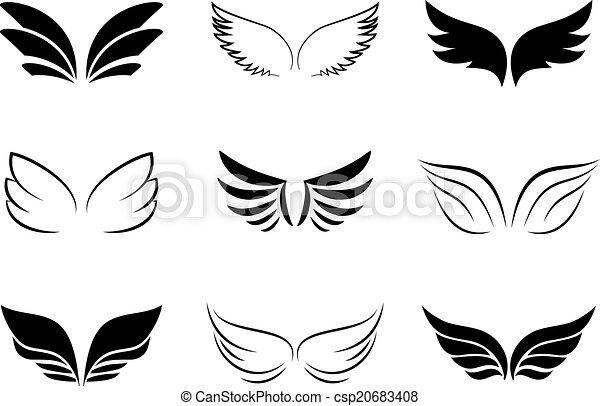 verschieden, entwürfe, flügel  - csp20683408