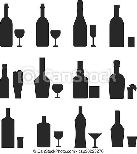 Verschieden, flaschen, alkohol, getränk, schwarz,... Vektoren ...