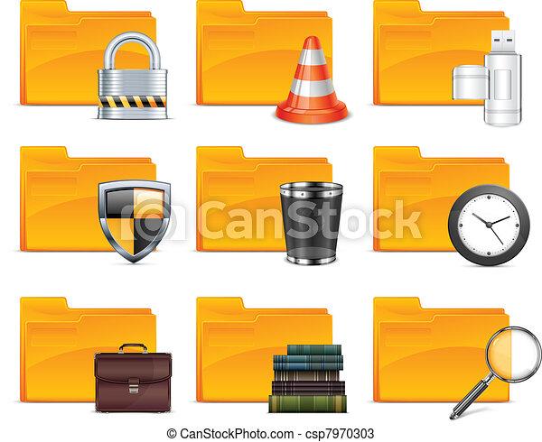 Ordner mit verschiedenen Symbolen - csp7970303