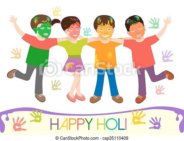 Illustration von schmutzigen Kindern in verschiedenen Farben spielen Holi - csp35110409