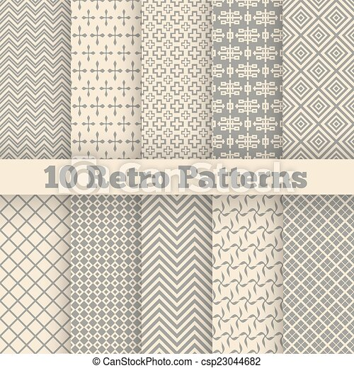 verschieden, patterns., seamless, abbildung, vektor, retro - csp23044682