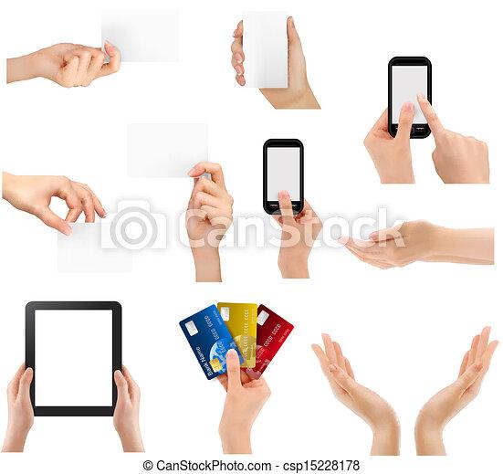 verschieden, satz, geschäftsillustration, vektor, halten hände, objects. - csp15228178