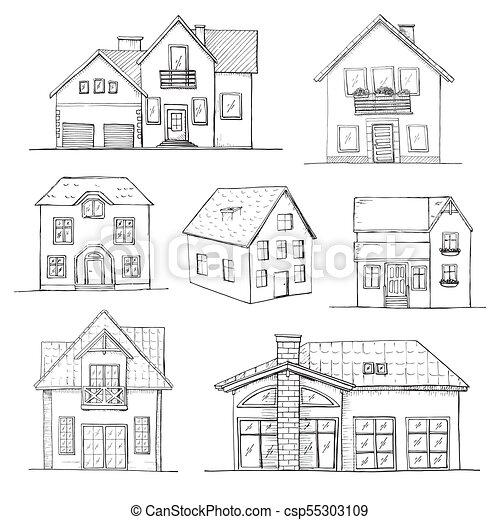 Handgezeichnete Reihe Verschiedener Hauser Vector