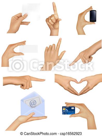 Hände mit verschiedenen Geschäftsobjekten. Vector Illustration - csp16562923